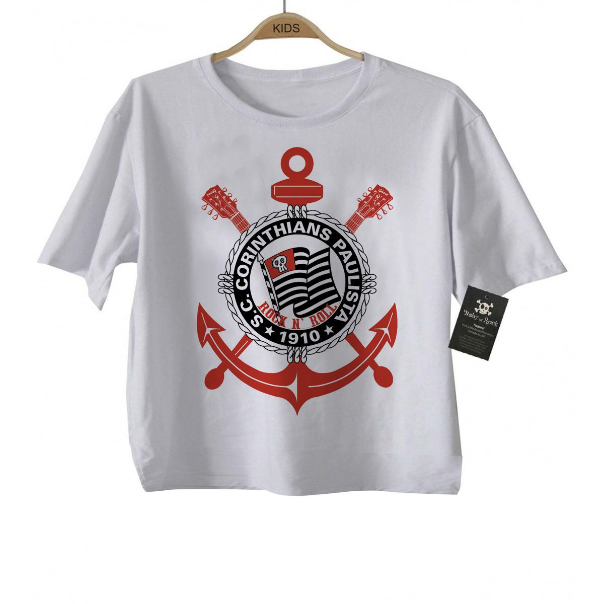 Camiseta Infantil  FutRock  Time Corinthians Rock N