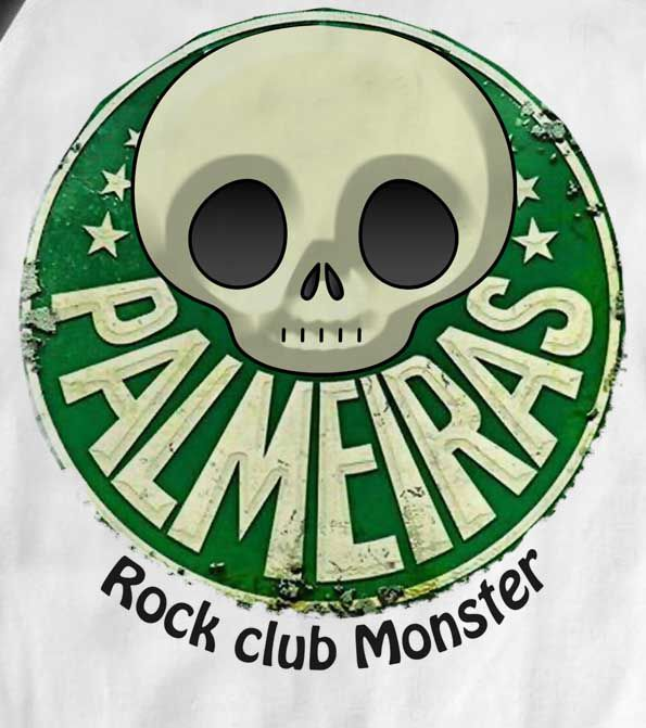 Camiseta Infantil Time  FutRock Palmeiras Rock monster Blub- White  - Baby Monster - Body Bebe