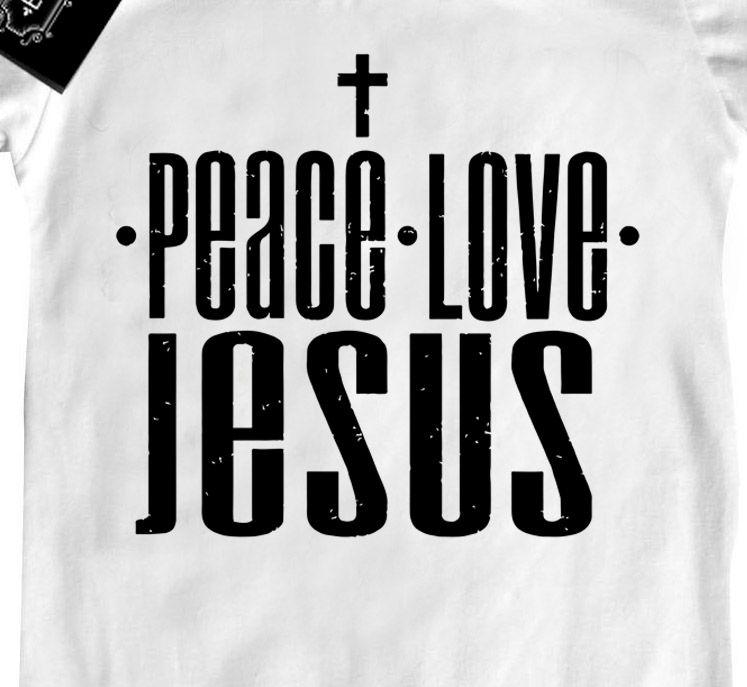 Camiseta Infantil Gospel Jesus Paz e Amor  - white  - Baby Monster S/A