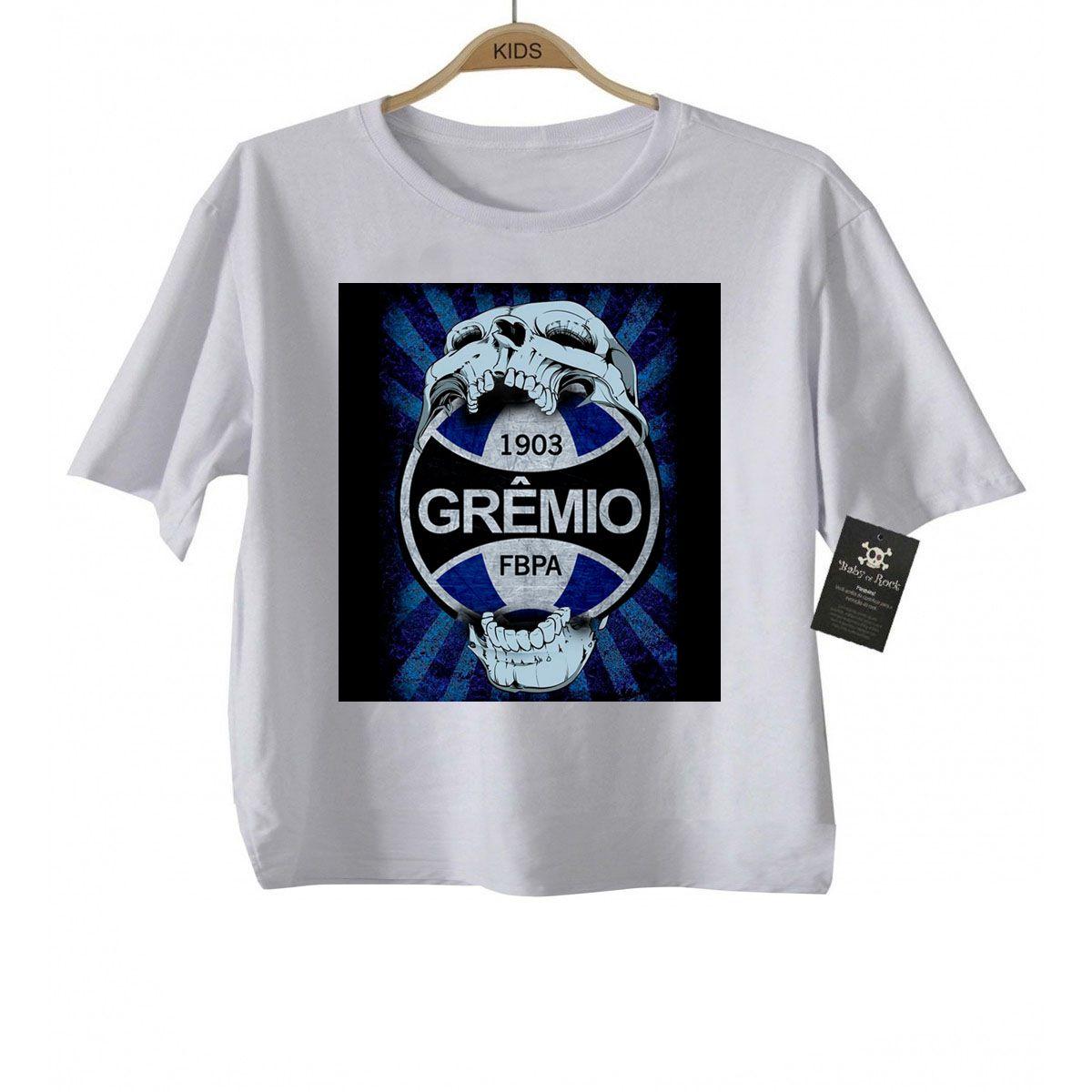 Camiseta Infantil  Gremio Futebol Time - White  - Baby Monster - Body Bebe