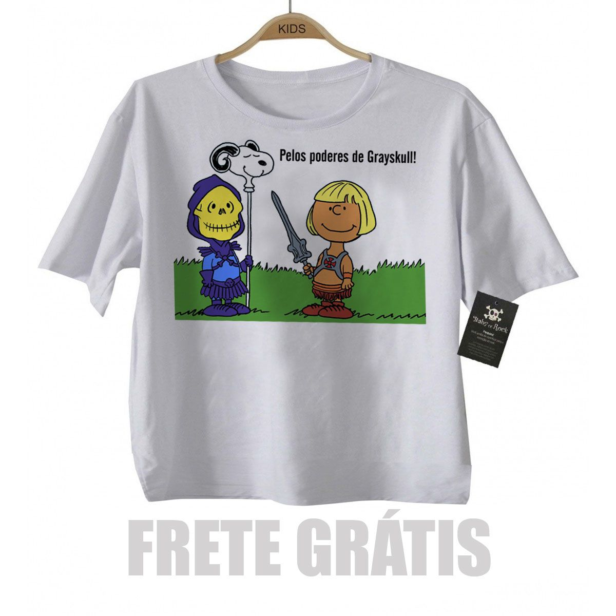 Camiseta Infantil  He man Snoopy -  White  - Baby Monster - Body Bebe