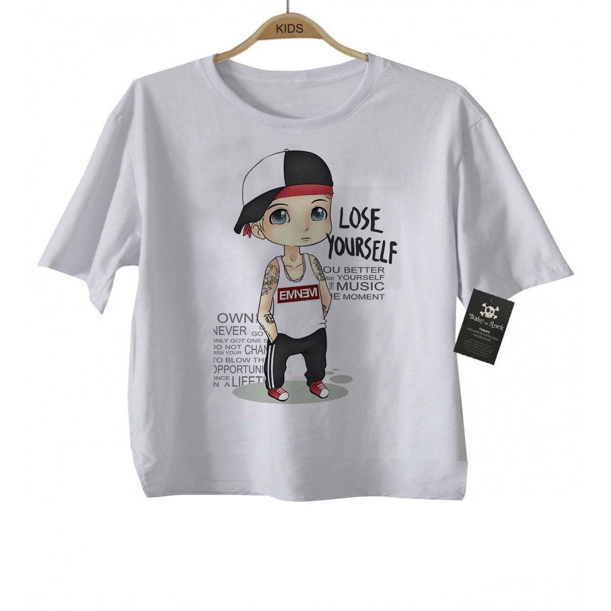 Camiseta Infantil  Rap / Hip hop   Bebe  Eminem - White  - Baby Monster - Body Bebe