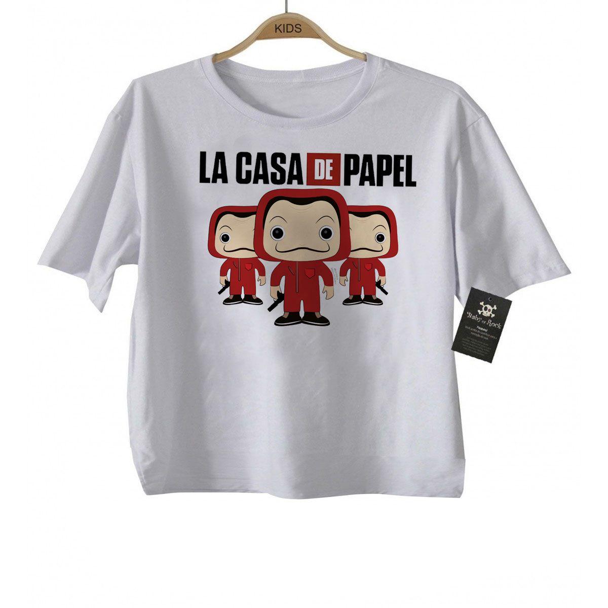 Camiseta Infantil La casa de Papel Faces - White  - Baby Monster - Body Bebe