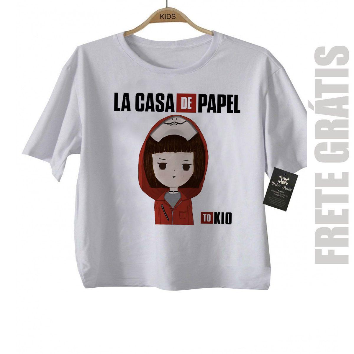 Camiseta Infantil La casa de Papel Tókio  - White  - Baby Monster - Body Bebe