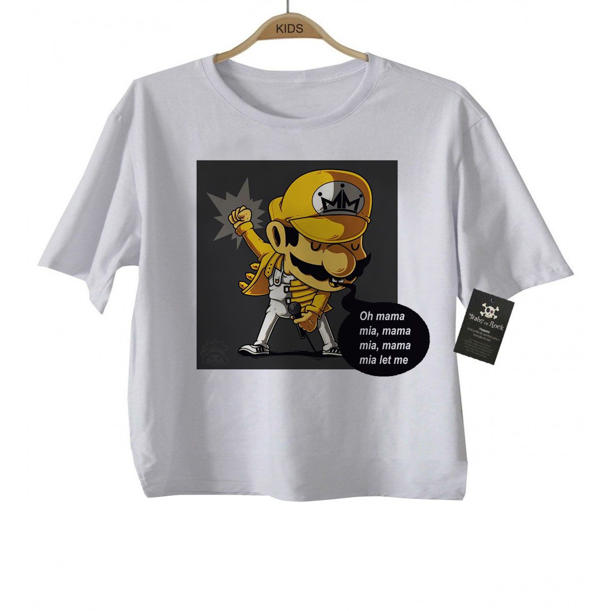Camiseta Infantil  Mário Freddy Mercury Queen  - Caricato - White  - Baby Monster S/A