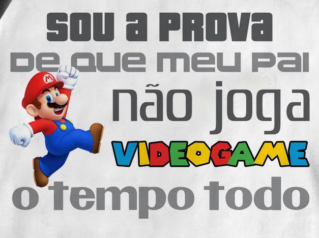 Camiseta Infantil  Mário -  Videogame Sem Parar - White  - Baby Monster S/A