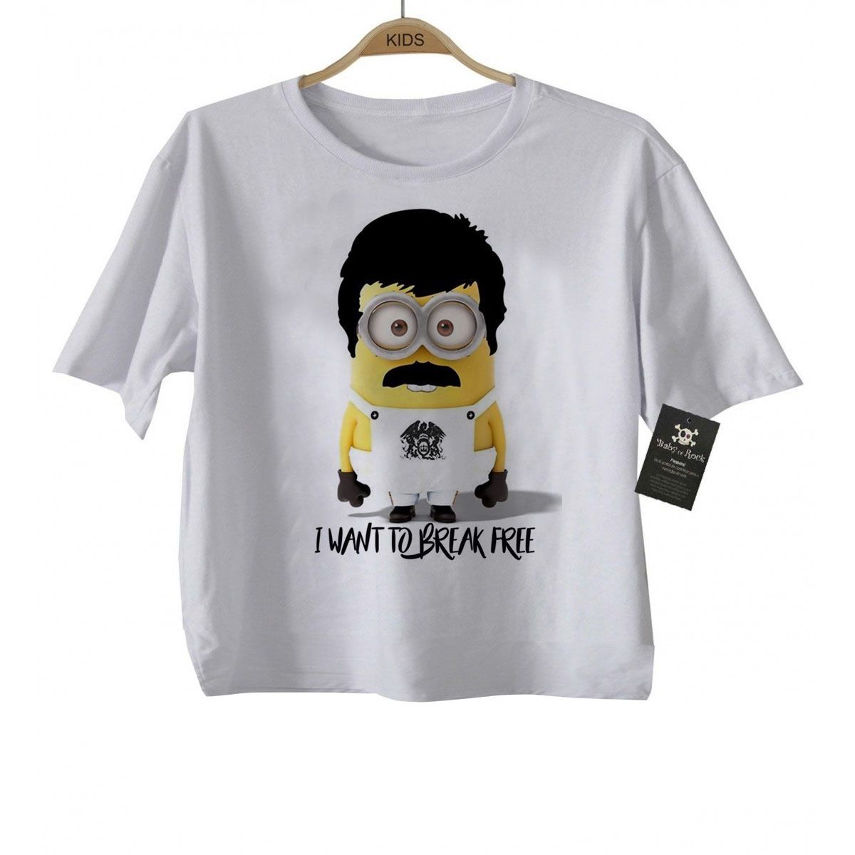 Camiseta Infantil Minions Freddy Mercury Queen  - Caricato - White  - Baby Monster - Body Bebe