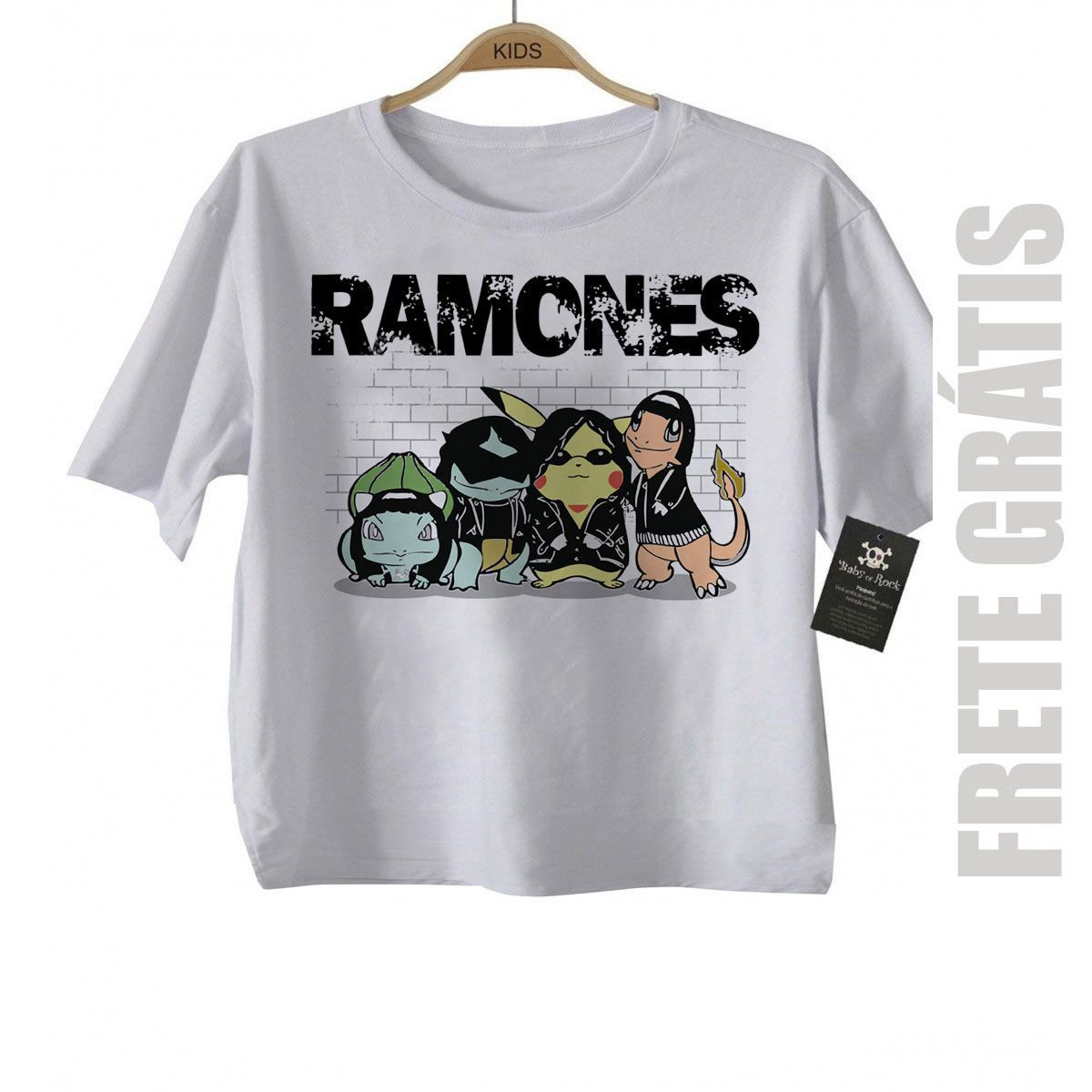 Camiseta Infantil  Nerd Geek  RAMONES Pokemon - White  - Baby Monster S/A