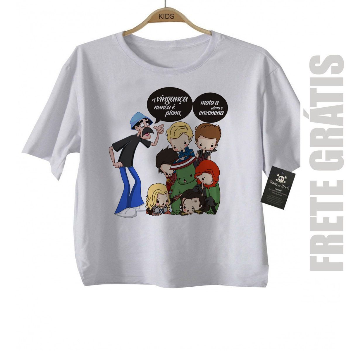 - Camiseta infantil   Nerd / Geek  Seu Madruga e os Vingadores - White  - Baby Monster S/A