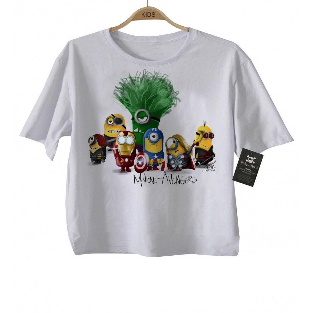 Camiseta infantil    os Vingadores Minions  - White  - Baby Monster - Body Bebe