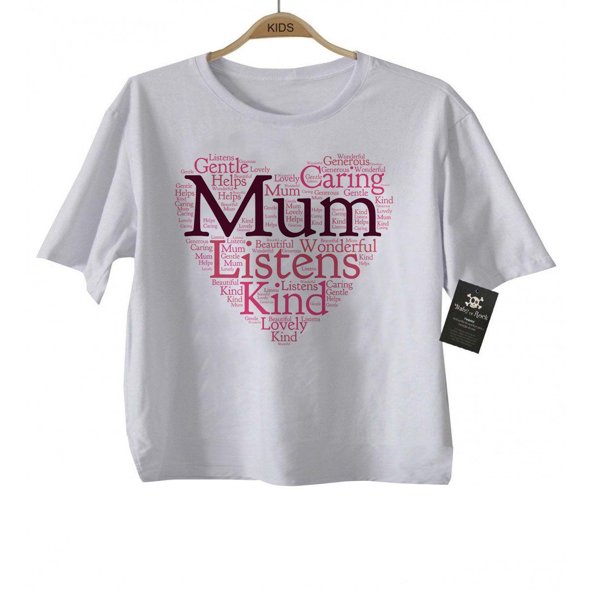 Camiseta Infantil  para Mamães Mum Heart - White  - Baby Monster S/A