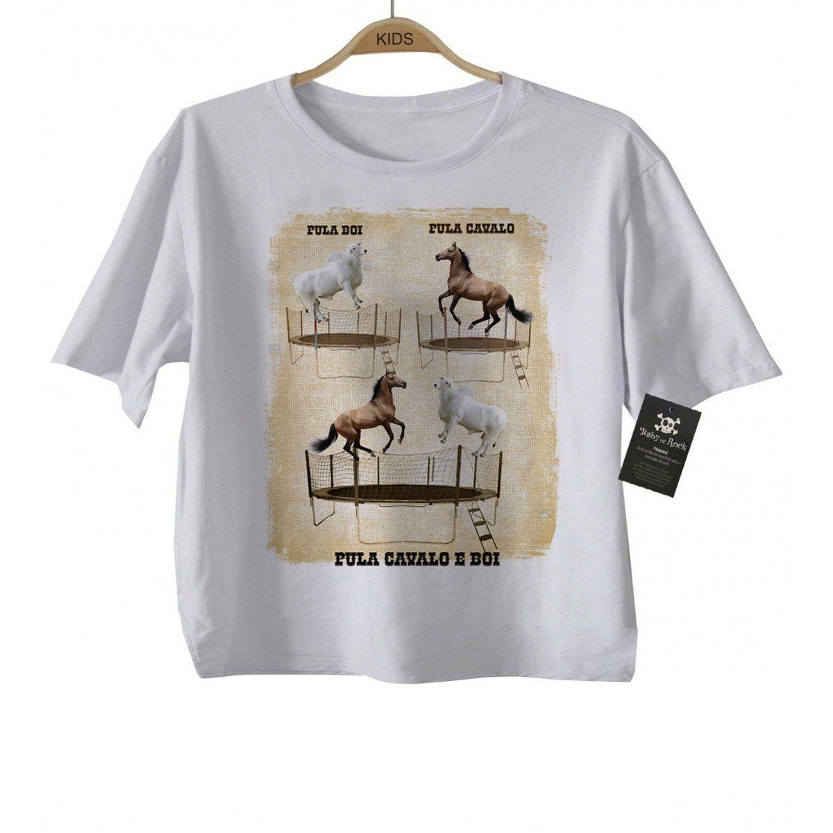 Camiseta Infantil Pula Boi Pula Cavalo - White  - Baby Monster S/A