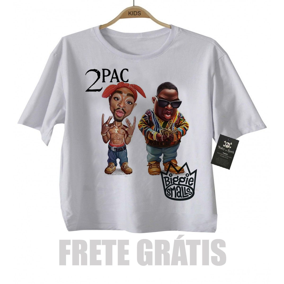 Camiseta Infantil  Rap / Hip hop   2 pac e Biggie Smalls - White  - Baby Monster S/A
