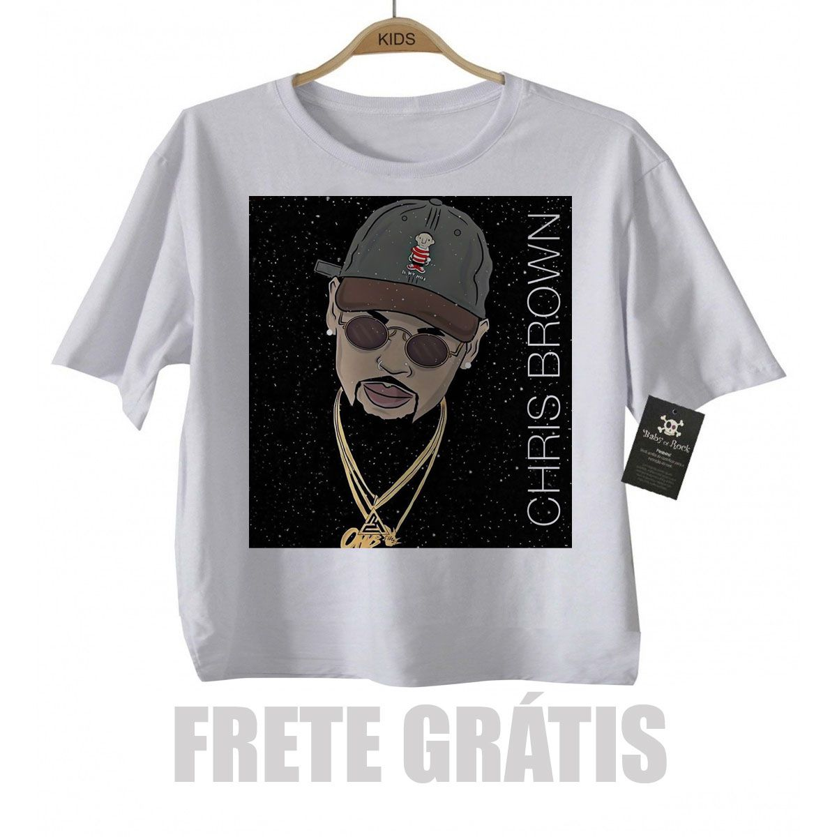Camiseta Infantil Rap / Hip hop  Chris Brown - White  - Baby Monster S/A