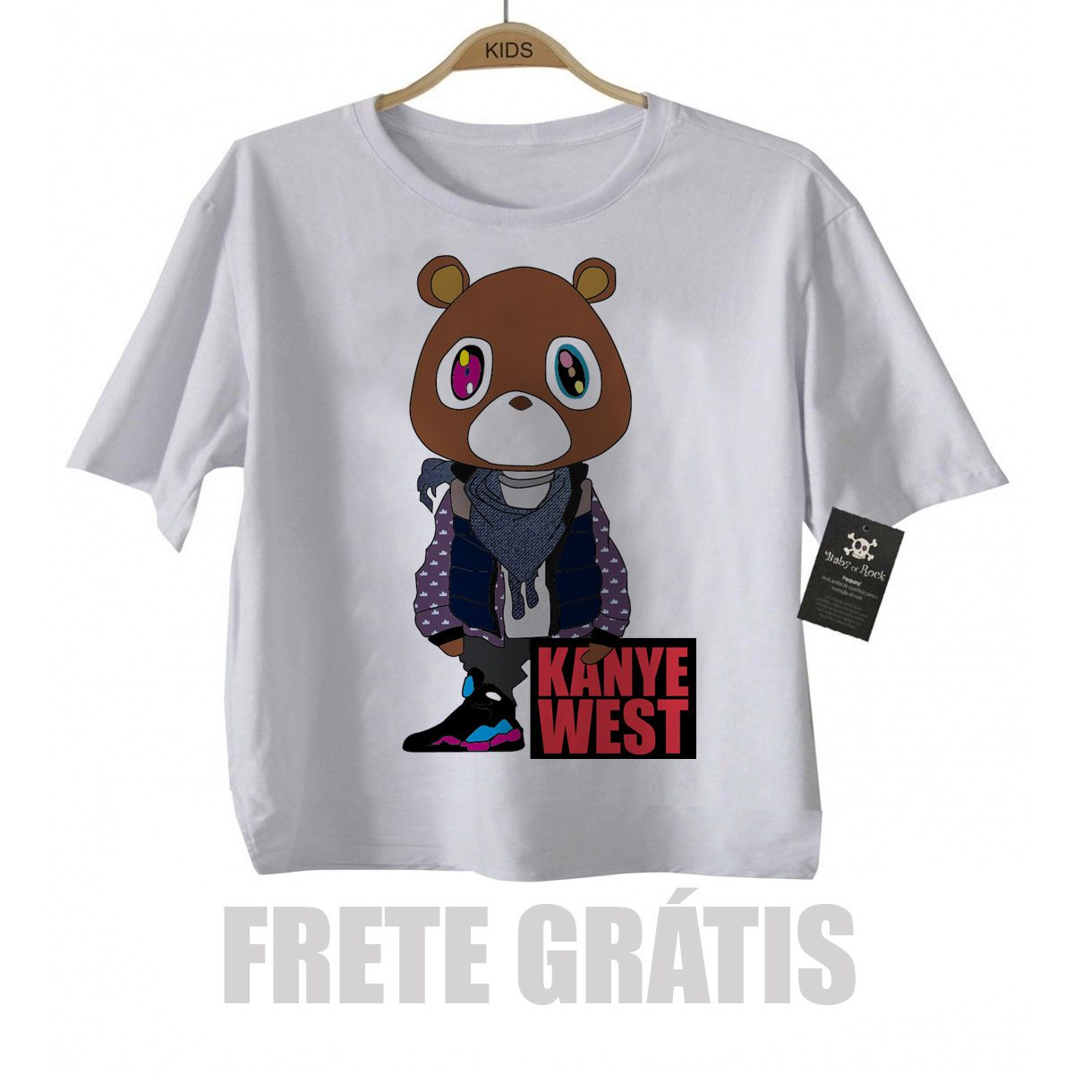 Camiseta Infantil  Rap / Hip hop   Kanye West - White  - Baby Monster S/A