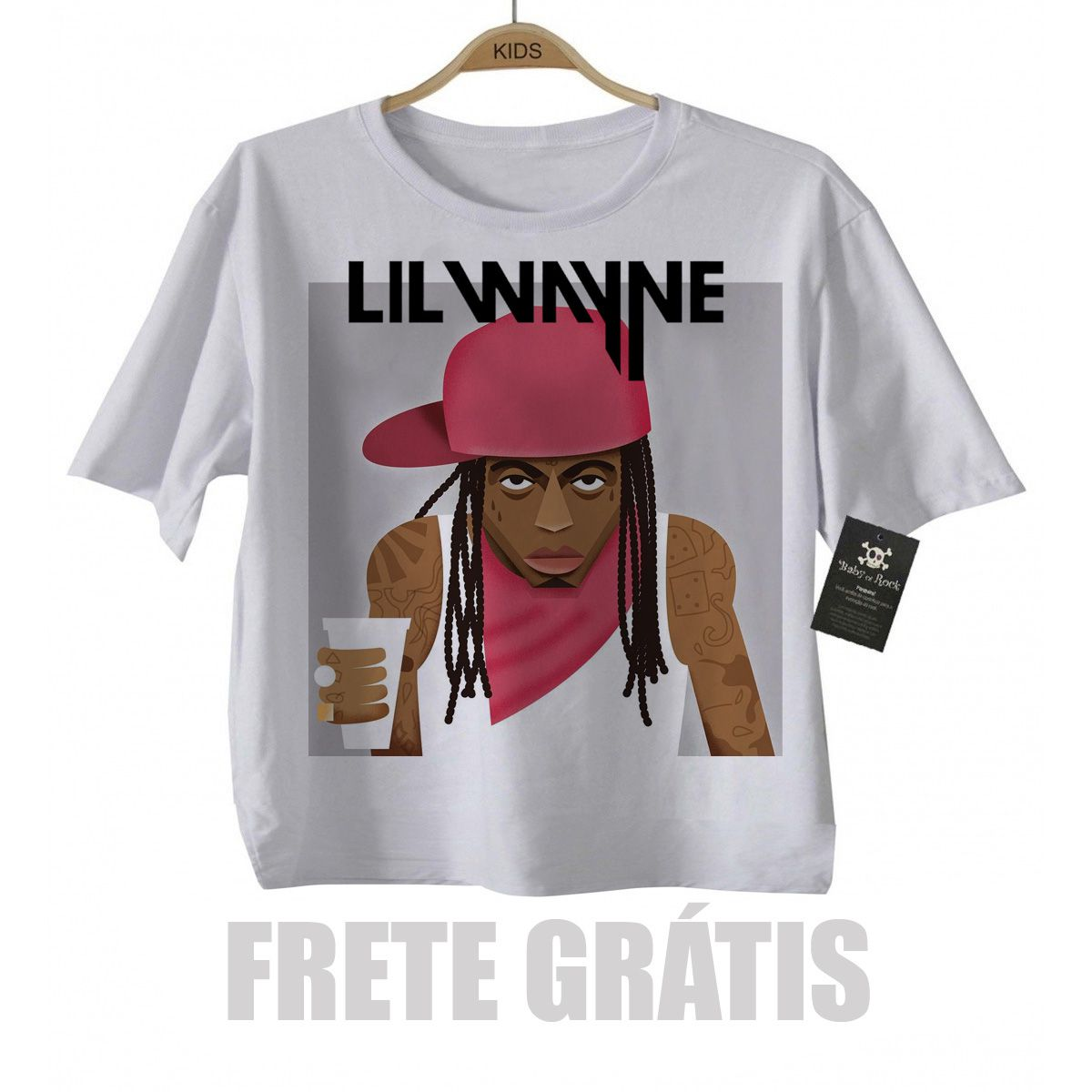 Camiseta Infantil Rap / Hip hop   Lil Wayne - White  - Baby Monster S/A