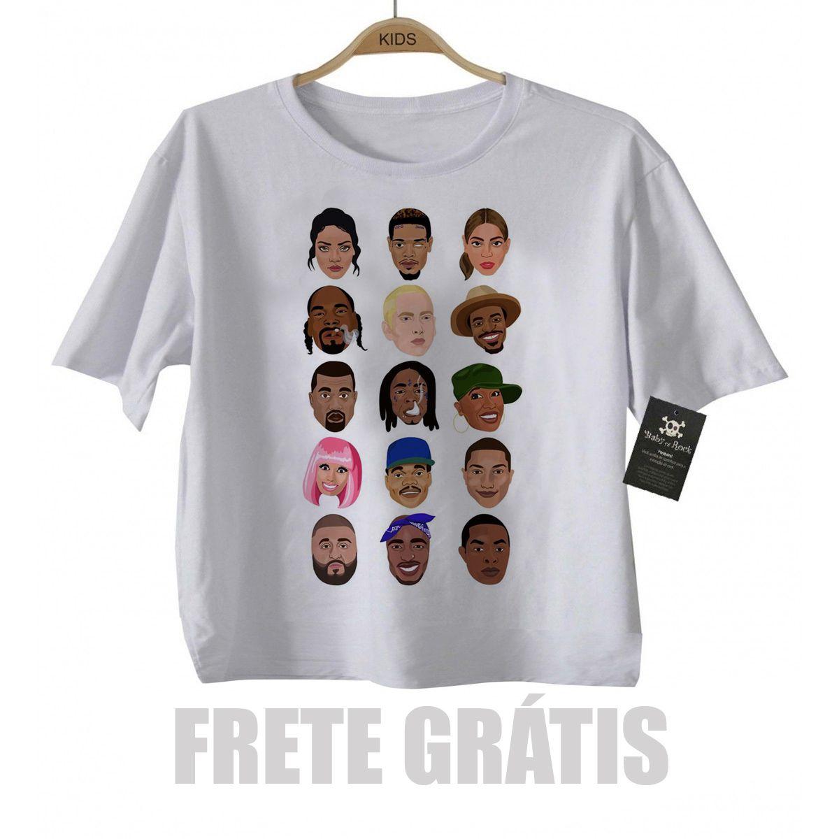 Camiseta infantil  Rap / Hip hop  Rappers Stars - White  - Baby Monster S/A