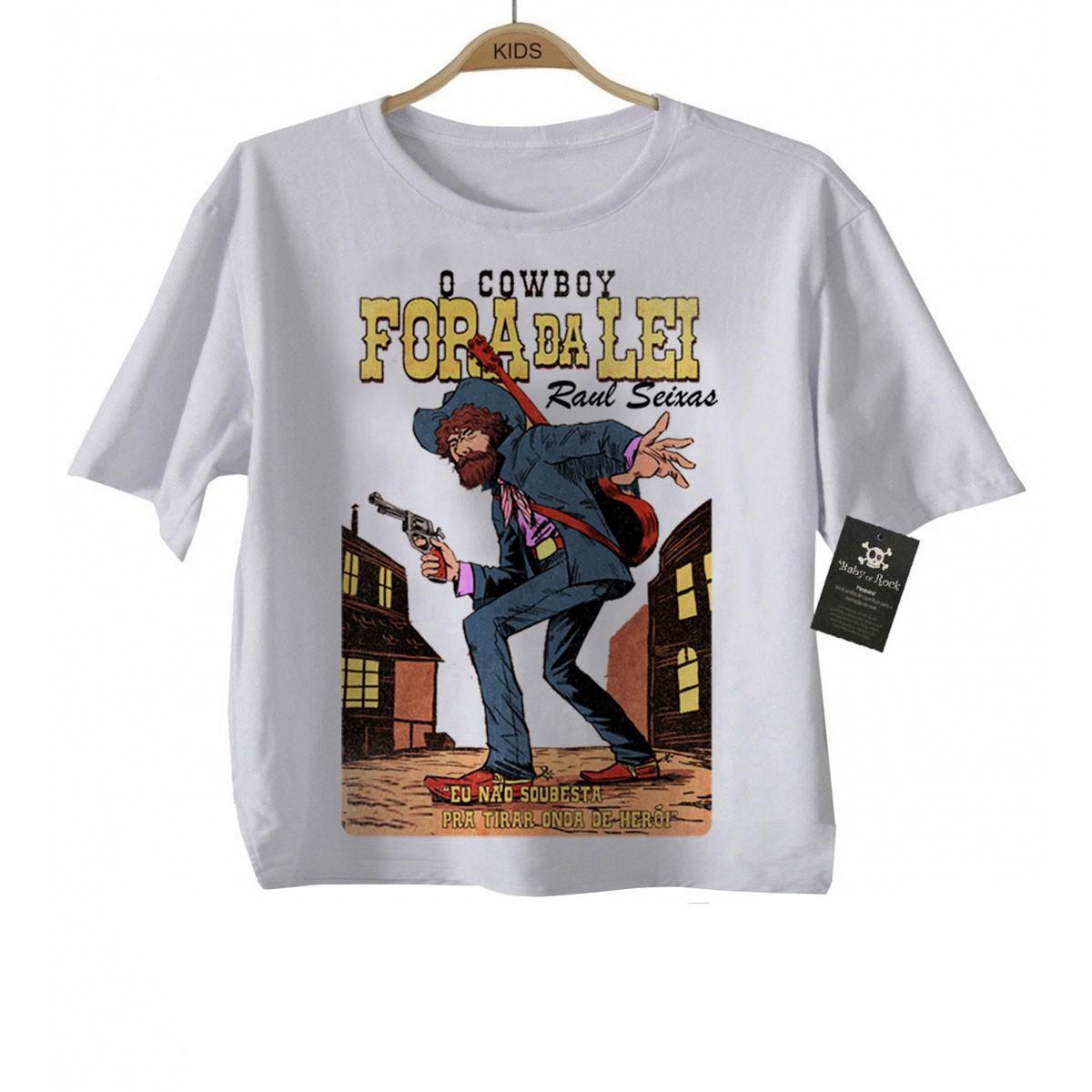 Camiseta Infantil Raul Seixas  Cowboy Fora da Lei  - Baby Monster S/A