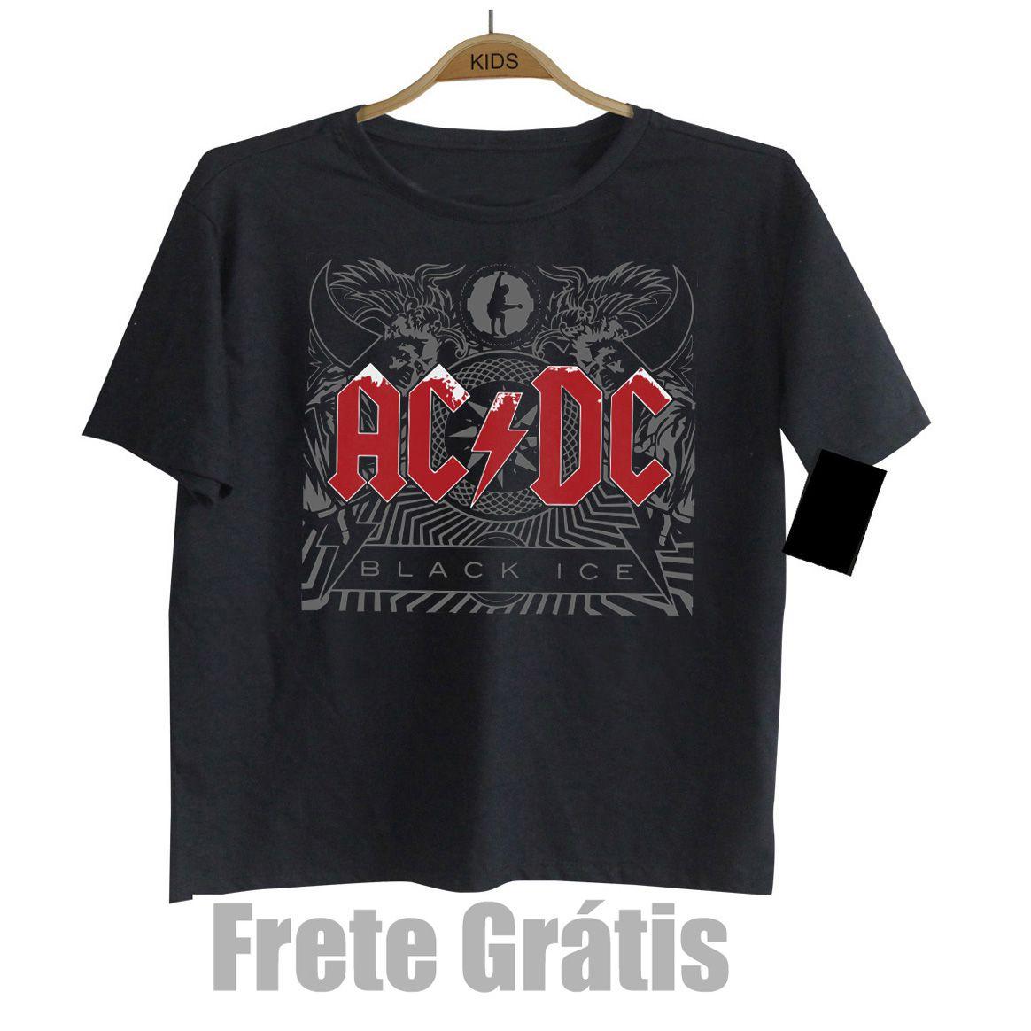 Camiseta Infantil  Rock Acdc - Black Ice   - Baby Monster S/A