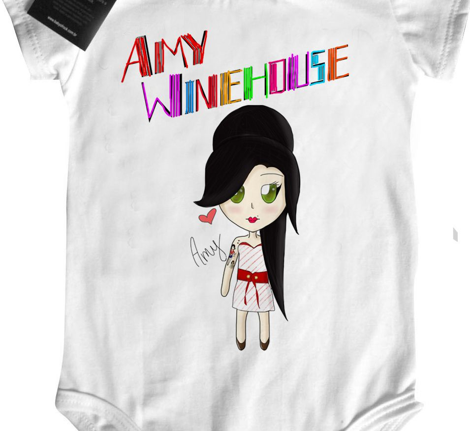 Camiseta Infantil  Rock  Amy Whinehouse Cute Color  - White  - Baby Monster S/A