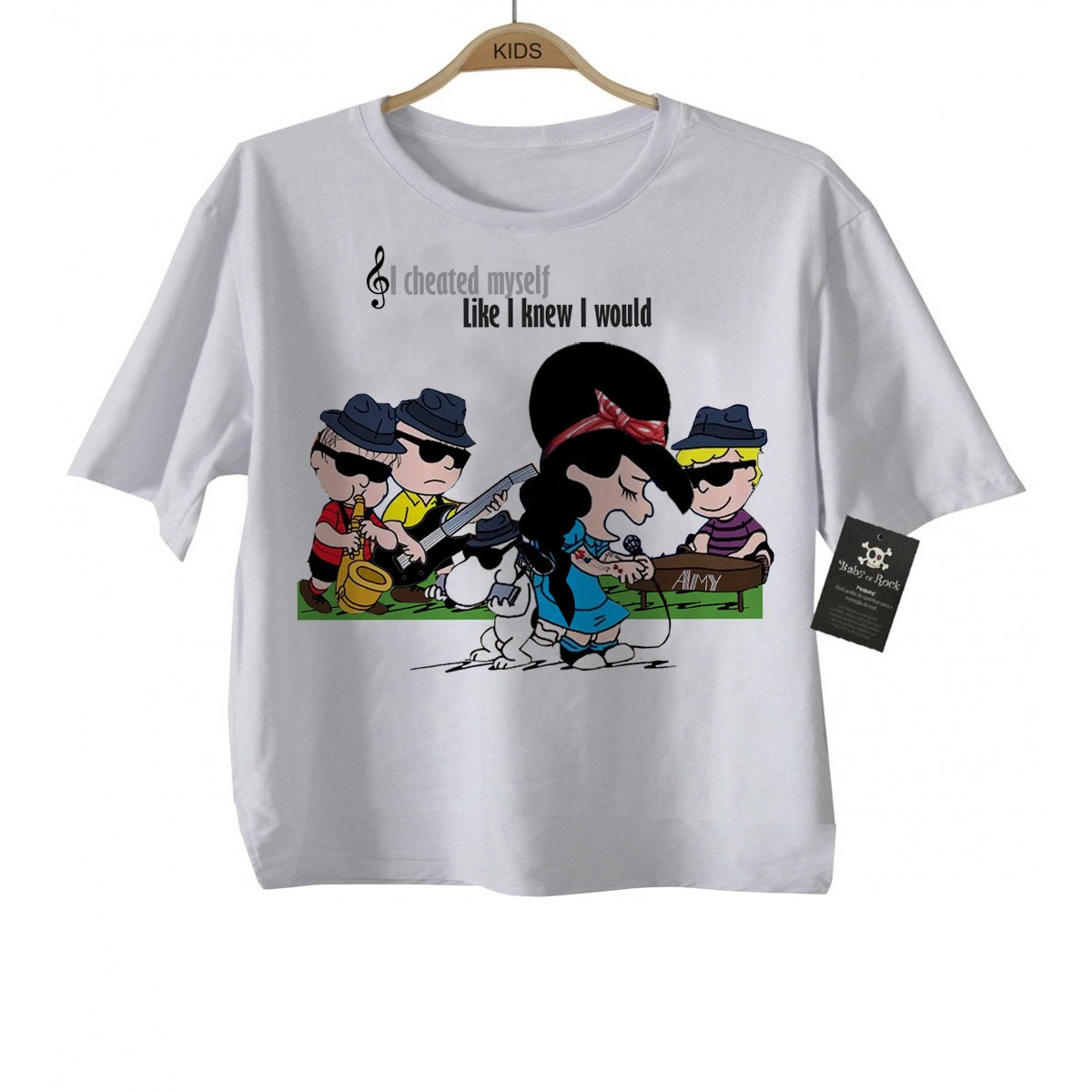 Camiseta Infantil Rock  Amy Whinehouse  Snoopy    - Baby Monster S/A