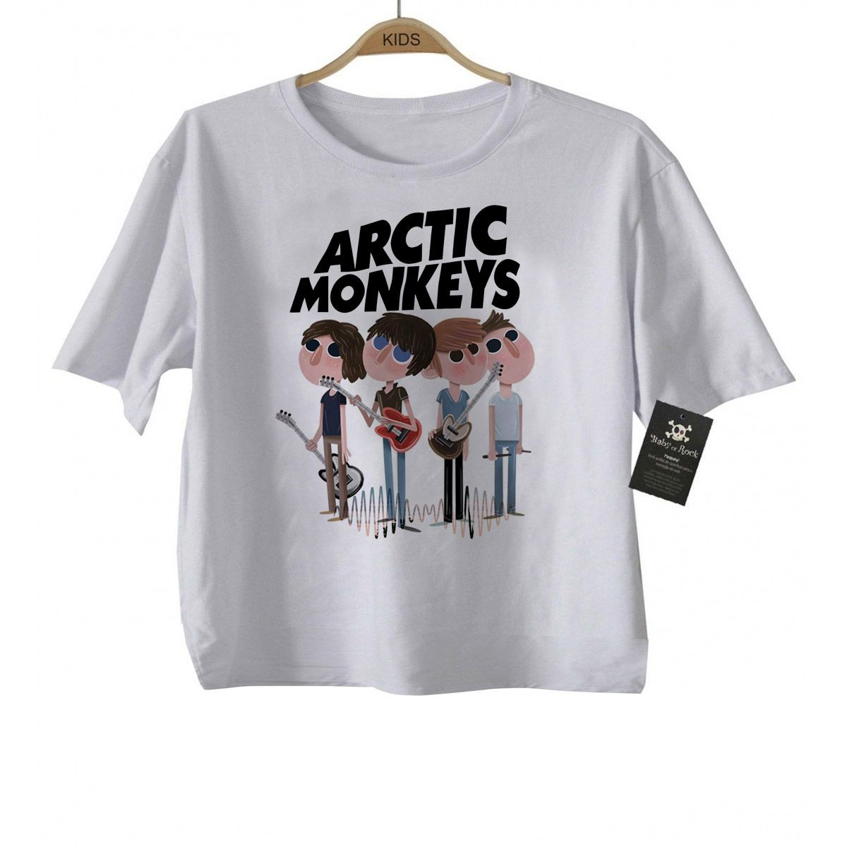 Camiseta infantil  Rock -  Arctic Monkeys -  White  - Baby Monster S/A