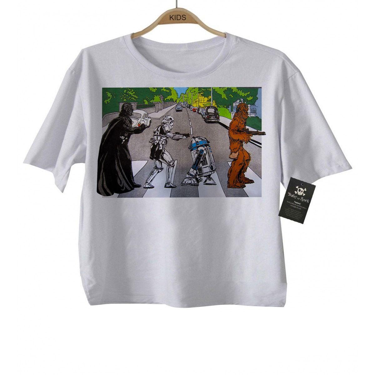 Camiseta Infantil  ROck Beatles Star Wars - White  - Baby Monster S/A