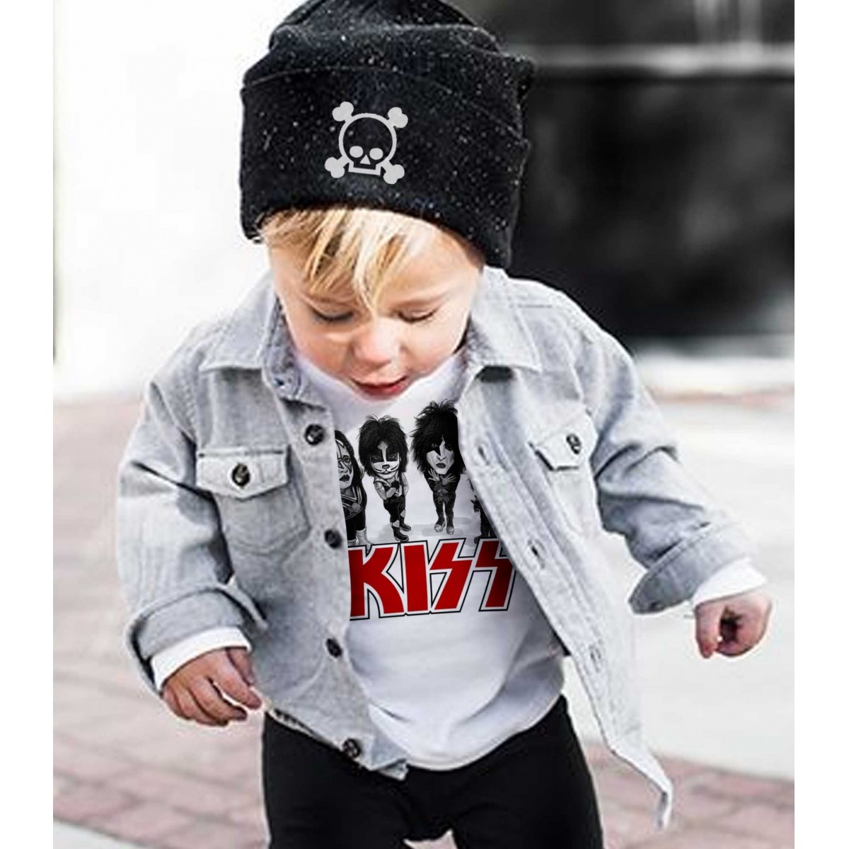 Camiseta  Infantil Rock -  Kiss - Caricato - White  - Baby Monster S/A