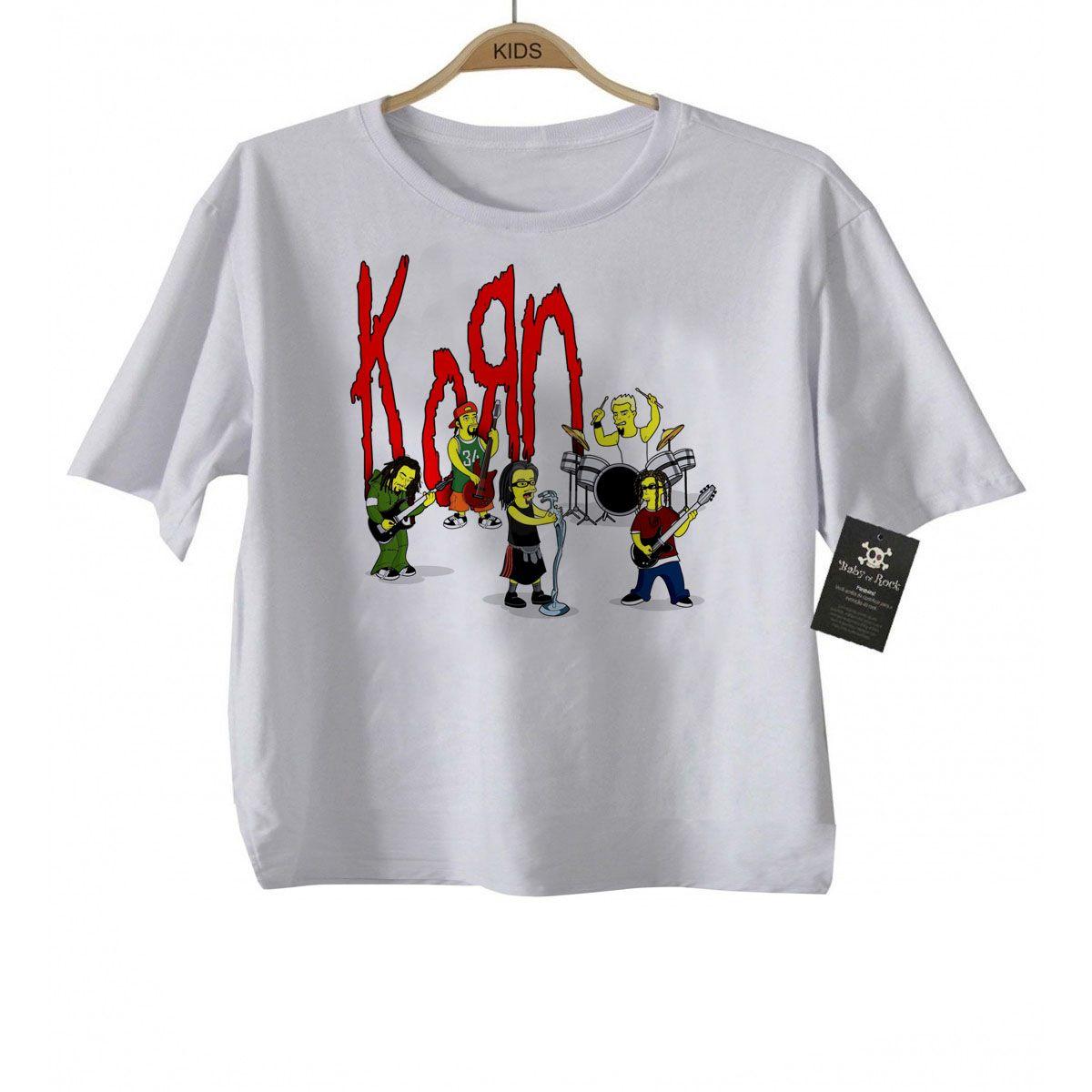 Camiseta Infantil Rock Korn -  Simpson - White  - Baby Monster S/A