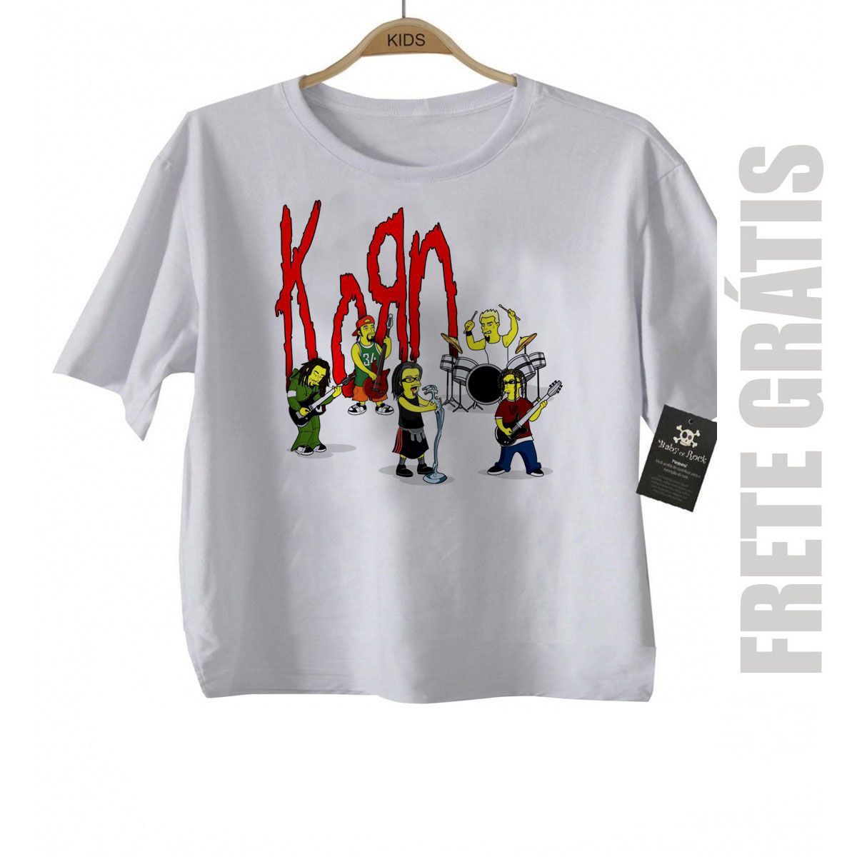 Camiseta Infantil Rock Korn -  Simpson - White  - Baby Monster S/A