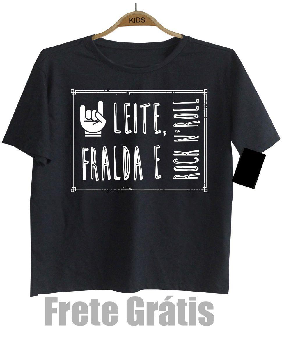 Camiseta Infantil Rock - Leite Fraldas e Rock n Roll  - Manga Curta  - Baby Monster S/A