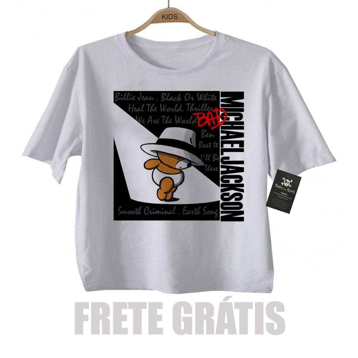 Camiseta Infantil Rock -  Michael Jackson Cute  - white  - Baby Monster S/A