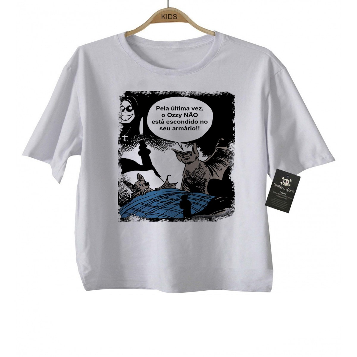 Camiseta  Infantil Rock - Morcego Ozzy - White  - Baby Monster - Body Bebe