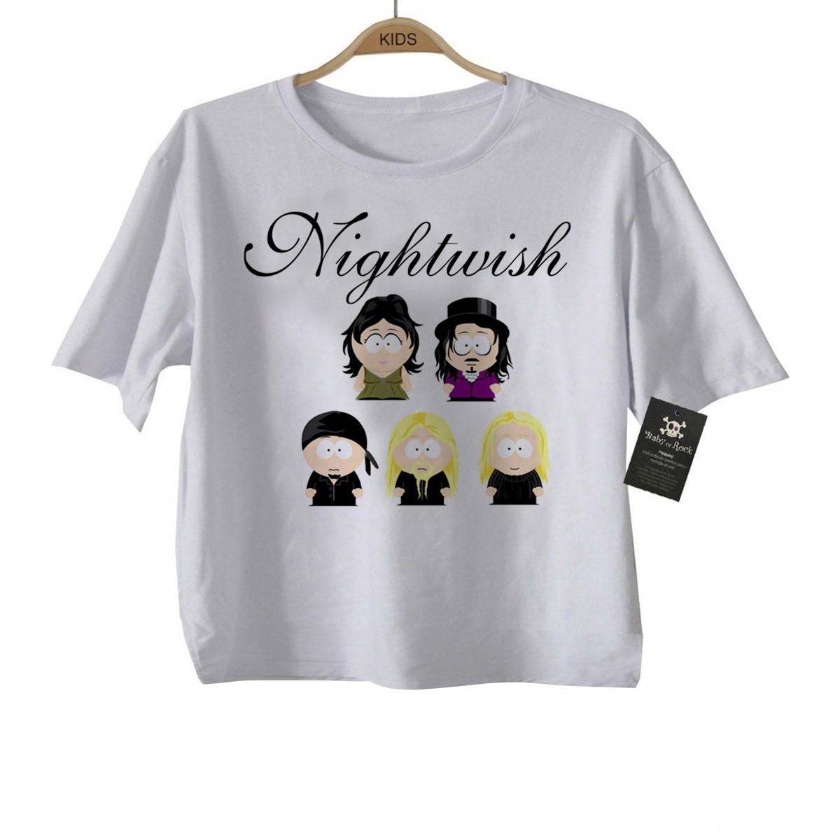 Camiseta Infantil  Rock Nightwish - White  - Baby Monster - Body Bebe