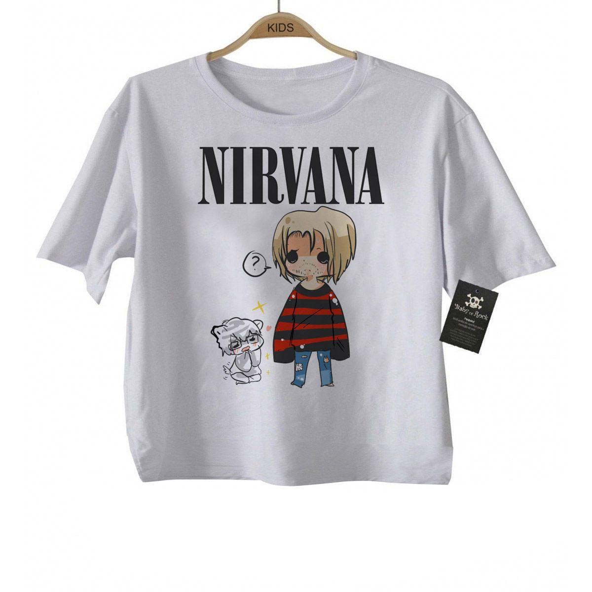Camiseta Infantil  Rock Nirvana - Cute - White  - Baby Monster S/A