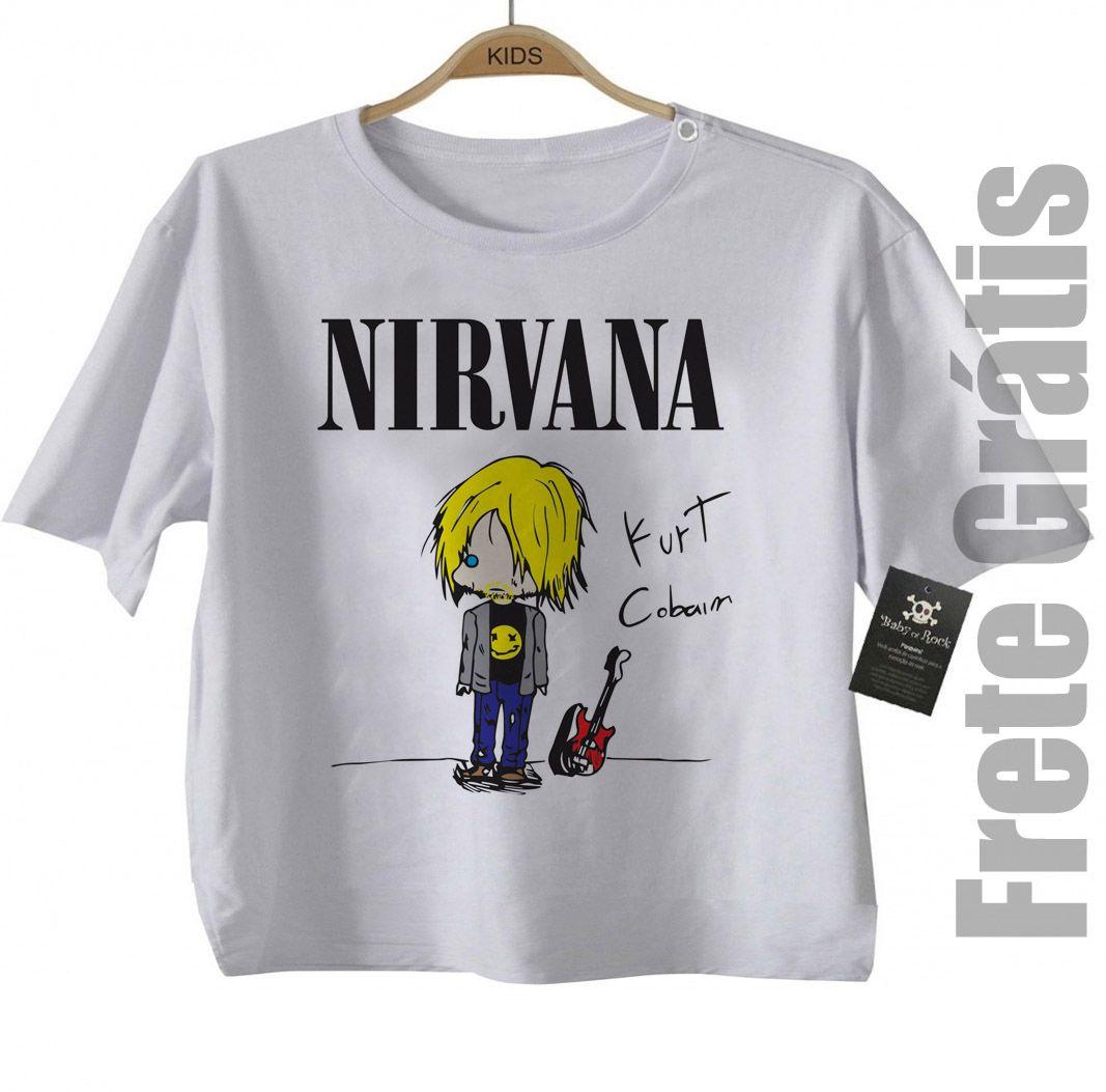 Camiseta Infantil rock   Nirvana - Kurt CUTE - White  - Baby Monster S/A