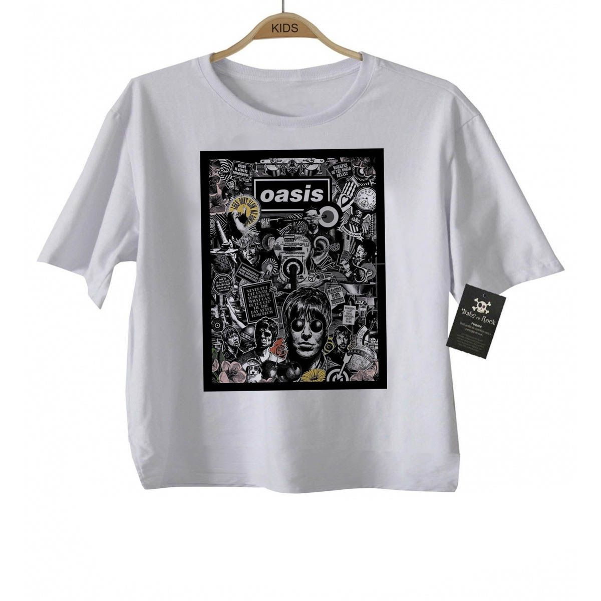 Camiseta infantil Rock Oasis - White   - Baby Monster - Body Bebe