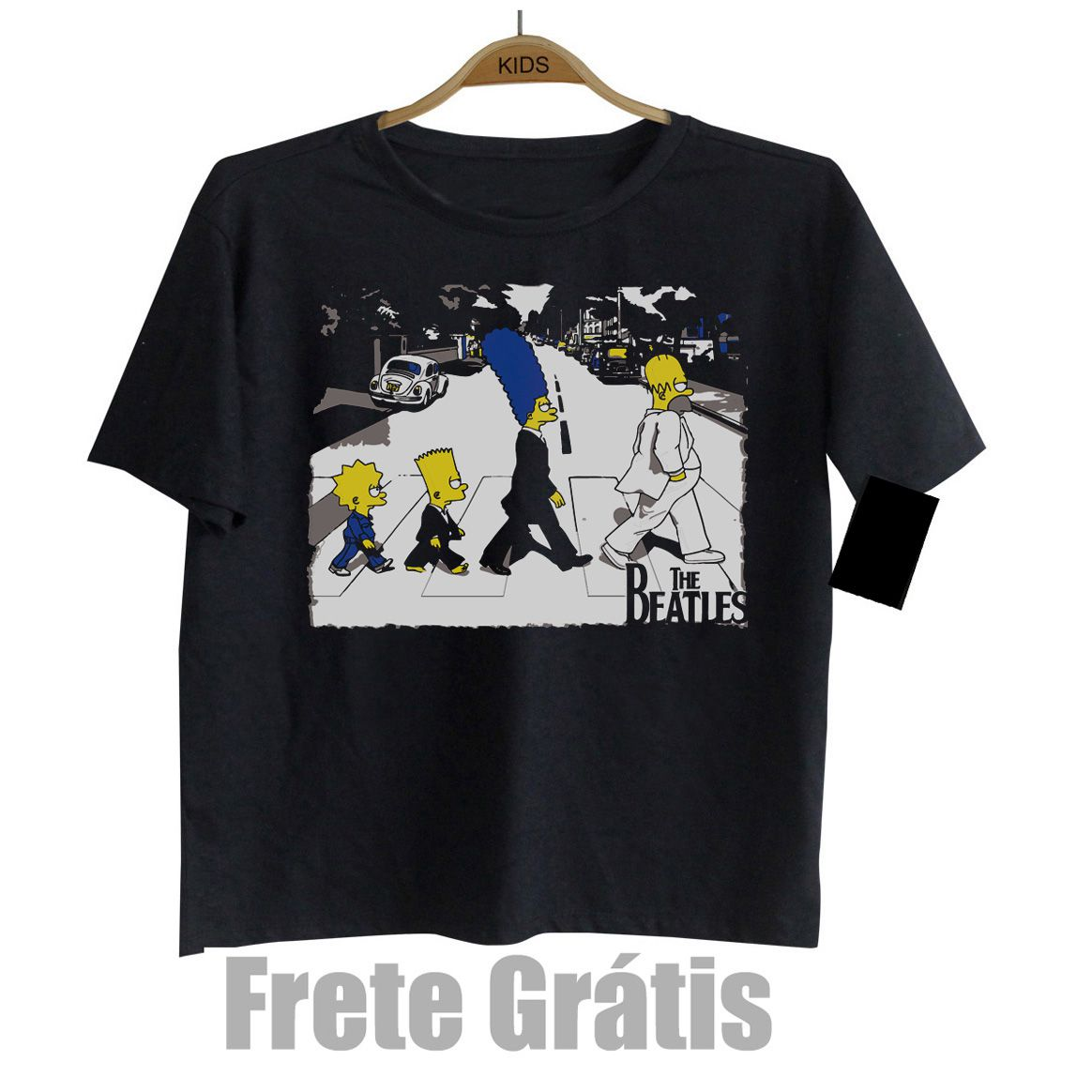 Camiseta Infantil Rock - The Beatles Simpsons  - Black  - Baby Monster S/A