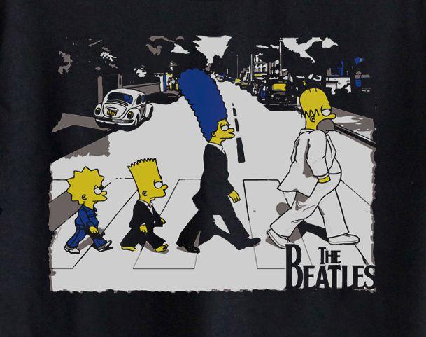 Camiseta Infantil Rock - The Beatles Simpsons  - Black  - Baby Monster S/A