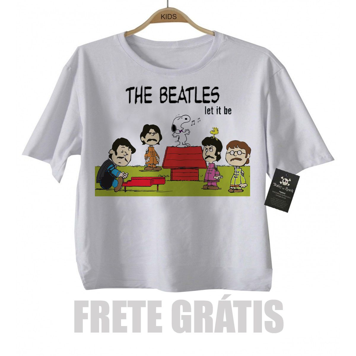 Camiseta Infantil Rock The Beatles - Snoopy  Let it Be  - White  - Baby Monster S/A