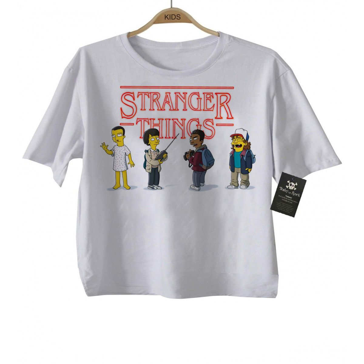 Camiseta Infantil Series Tv  Stranger Things Simpsons -  White  - Baby Monster - Body Bebe