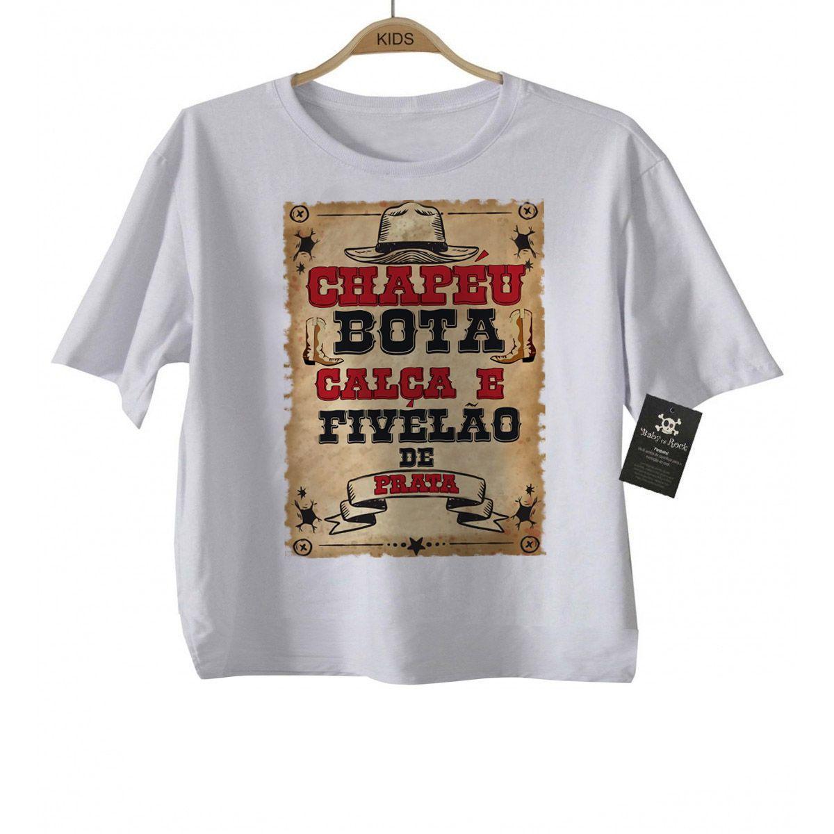 Camiseta Infantil Sertanejo - Chapéu, Bota e Calça-  White  - Baby Monster - Body Bebe