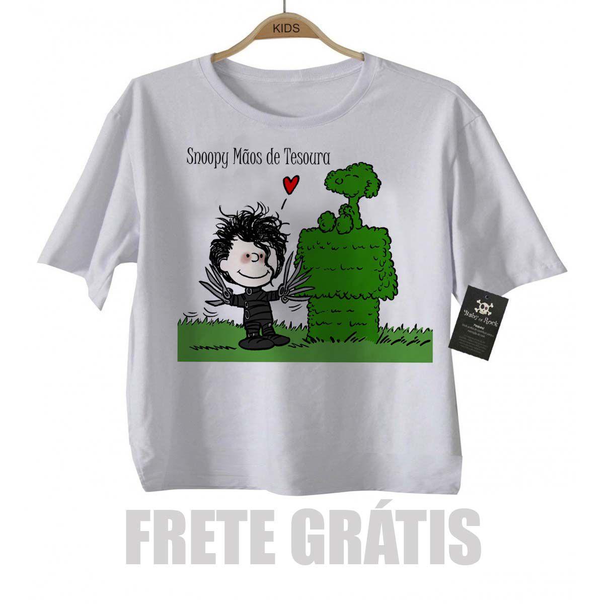 Camiseta Infantil  Snoopy Mãos de Tesoura  - Baby Monster S/A