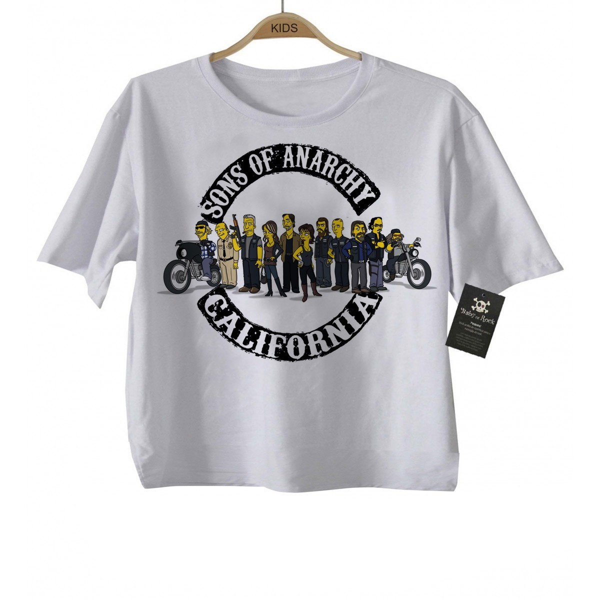 Camiseta Infantil  Sons of Anarchy Simpsons - White  - Baby Monster - Body Bebe