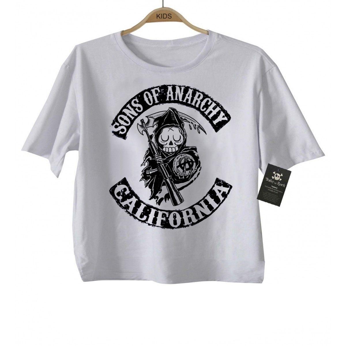 Camiseta Infantil  Sons of Anarchy Skull - White  - Baby Monster S/A