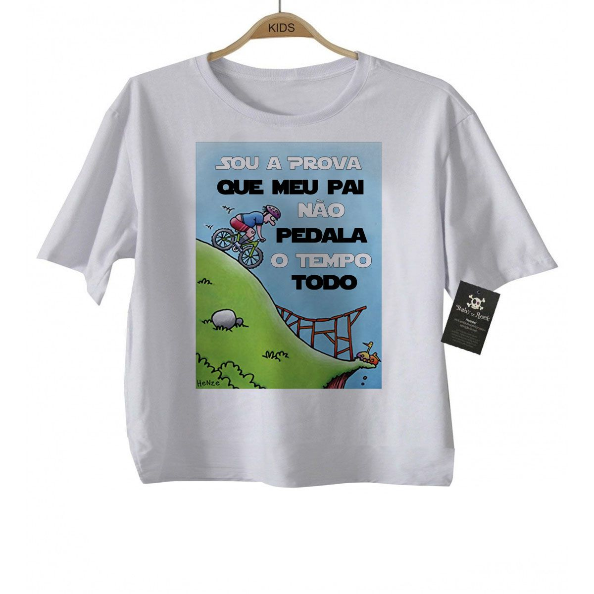 Camiseta Infantil  Sou a Prova Bike Tempo todo - White  - Baby Monster - Body Bebe