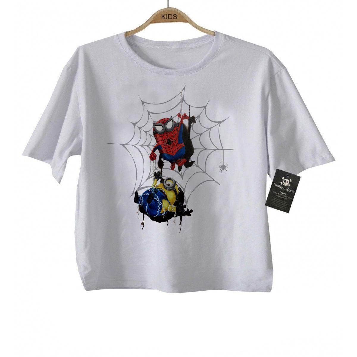 Camiseta Infantil Super Heróis - Homem Aranha Minions - White  - Baby Monster - Body Bebe