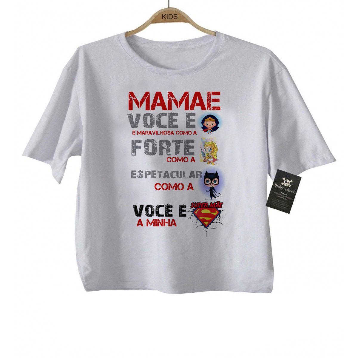 c0136f0d8 Camiseta Infantil Super Mãe Maravilha - White - Baby Monster - Body ...