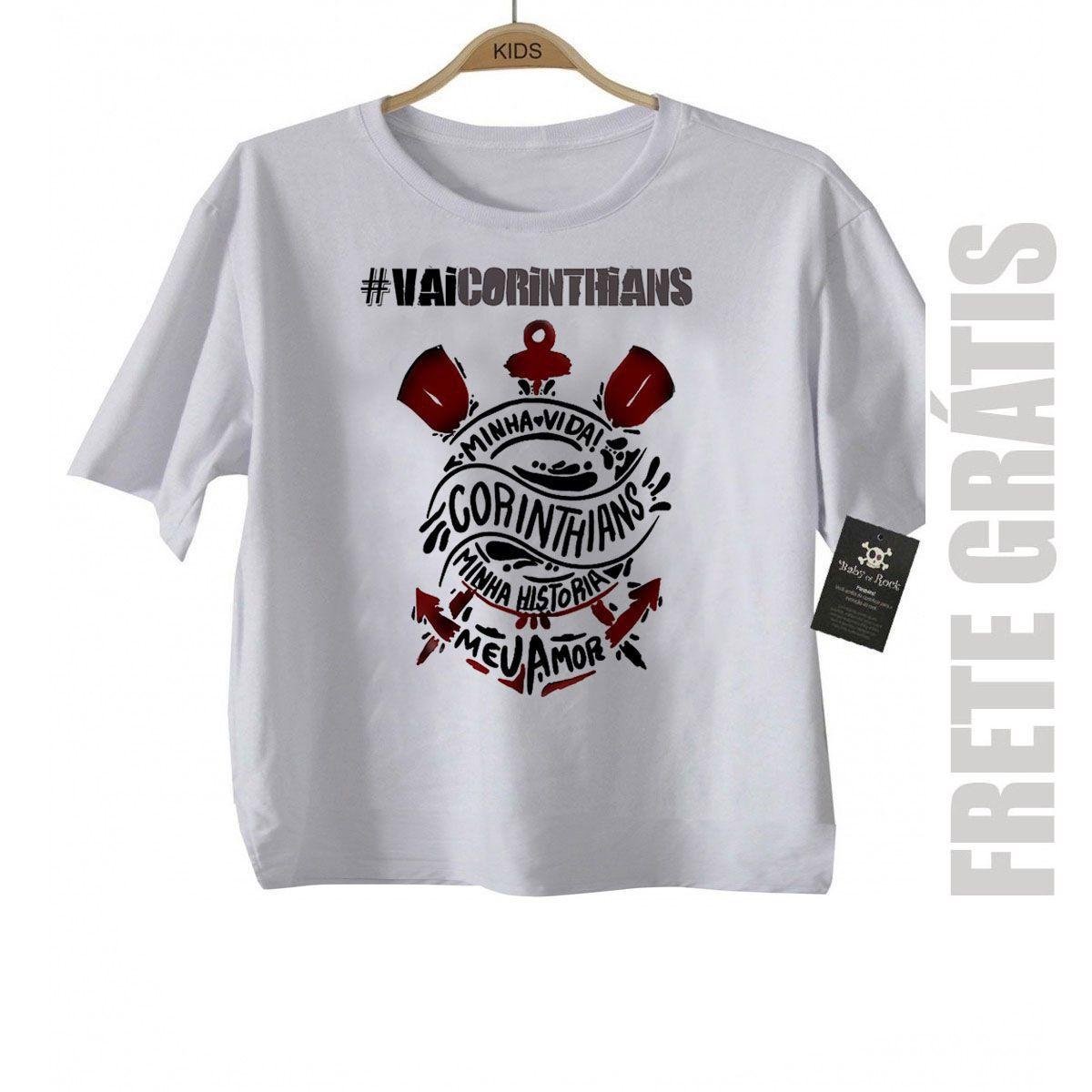 Camiseta Infantil  VAI CORINTHIANS Time Corinthians Rock N