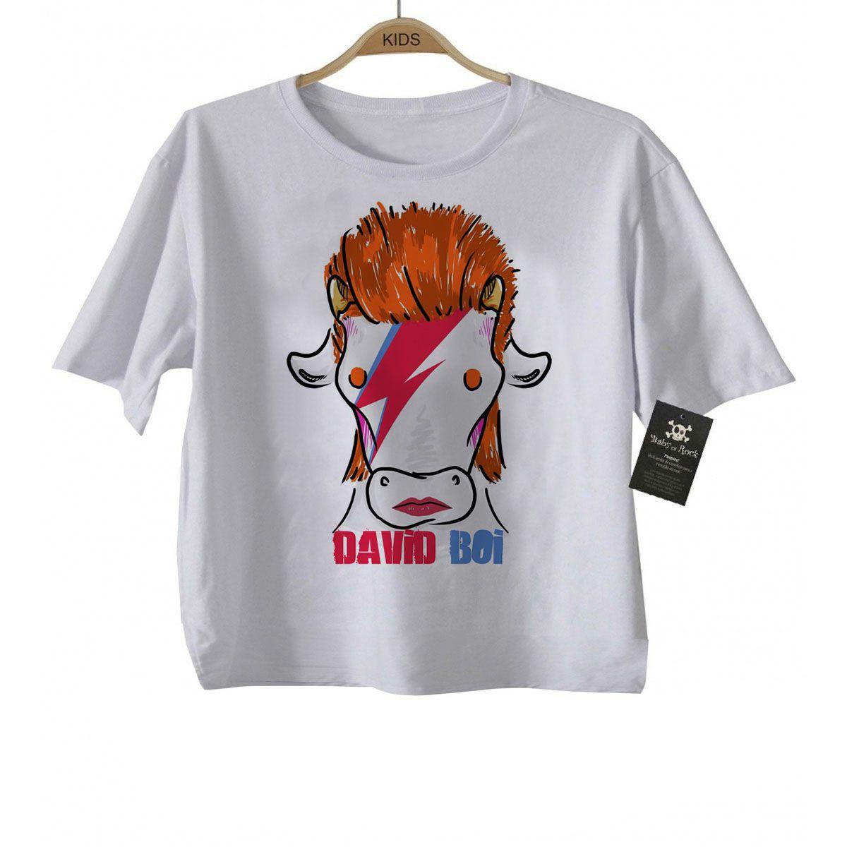 Camiseta Infnatil David BOI - Arte Bovina  Rock n Roll- White  - Baby Monster S/A